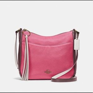 Coach Color-Block Pebble Leather Chaise Crossbody